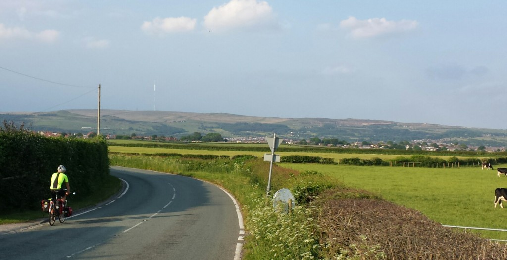 Approaching Adlington, Winter hill in the background