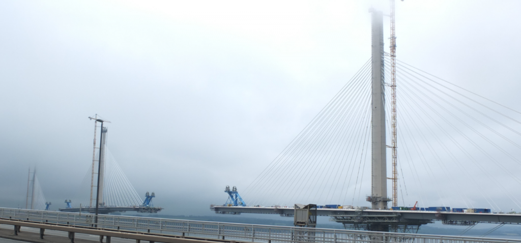 Queensferry crossing under construction. Segments not yet joined up