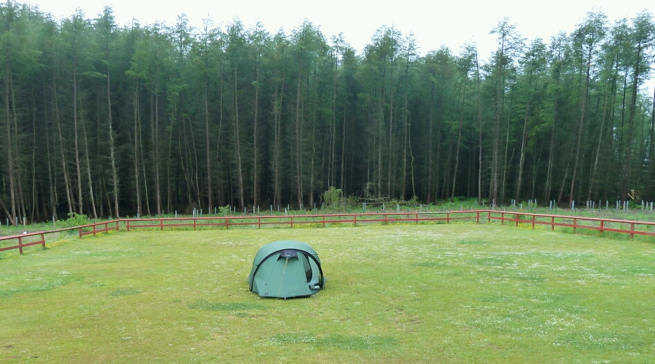 Camped at Beecraigs, as far as possoble from midgey grass